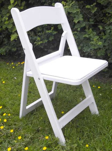 Where to find Chair, White Resin Padded in Bloomington
